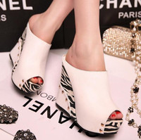 Wholesale Ultra high heels platform sexy t ruslana korshunova sandals fashion zebra print wedges slippers open toe