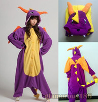 Wholesale prices Kigurumi Pajamas Adult Anime Cosplay Costume Onesie Spyro Dragon Unisex S M L XL