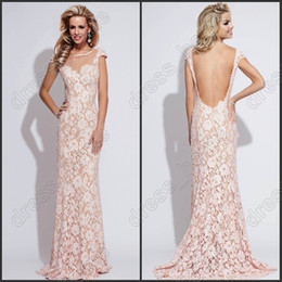 Wholesale Unique Design Mermaid Crew Floor Length Pink Lace Prom Dresses Low Back Sexy Prom Gowns Long Formal Evening Dresses Short Sleeve