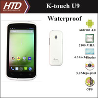 Wholesale 100 Original K touch U9 Inch Dual Core MHz Dual SIM Android Water Proof Smart Cell Phone Waterproof Phone with Free Adapter
