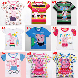 Wholesale many designs Fast Ship Nova Clothing Brand New Kids Girls boys Peppa Pig and George Short Sleeves Summer T Shirts Baby Girl Cartoon Tops