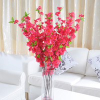 Wholesale 5Pcs Artificial Peach Tree Branch Blossom Flower Home Garden Wedding Decoration Decor Gift Newest