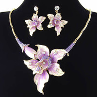 Wholesale purple flower rhinestone wedding crystal jewelry set NJ K gold plating Neoglory Jewelry Rihood valentine s day gift Bridal Jewelry