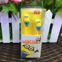 Wholesale New Cute Minion Style Despicable Me mm Earphone Headphone for Samsung s2 s3 s4 note note For MP3 Computer