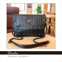 Cheap Punk style fashion designer women leather bags small handbags SKULL cool messenger shoulder crossbody black bag woman purse Free shipping