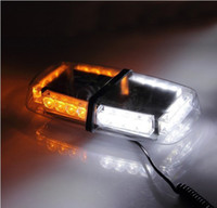 Wholesale LED High Power Car Warning Emergency Hazard Strobe Light Mini Bar w Magnetic Base Amber amp White DC V