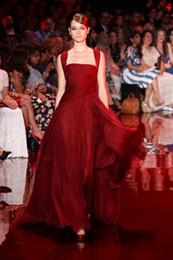 Wholesale 2014 Elie Saab Wine Red Evening Dresses Ruched Bodice Greek Goddess Stylies Women Formal Party Gowns Chiffon Custom Made Court Train Hot New