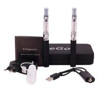 Wholesale E cigarette CE5 kits Ego starter double no wick Electronic cigarette kit atomizer Vapor tank EGO T battery Fold leather gift box Clearomizer