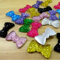 Wholesale BSI Mix colors Resin Flat Back Twinkling Bowknot Cabochons For Decorations Jewelry Making