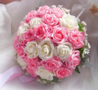 Wholesale High Quality Cheap Wedding Favors Bouquets Pink White Ivory Red Hand Made Flowers Bridal Bridesmaid Bouquets