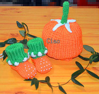shoes hats caps - Children Caps Wool Cap Two Piece Hand Knitted Caps Crochet Shoes Kids Cute Orange Casual Caps Infant Hat Pumpkin Modelling Cap Toddler Hats