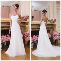 Wholesale 2014 New Sweetheart Straplss A Line Wedding Dress White Ivory Chiffon Court Train Beach Garden Corset Lace Up Back Forml Bride Gown AQ319