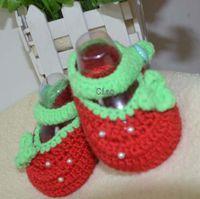 Wholesale Crochet Models - Baby First Walker Shoes Infant Crochet Shoes First Walking Shoes Toddler Footwear Girls Cute Strawberry Modelling Shoes Red Handmade Shoes