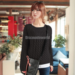 Wholesale Womens Ladies Cable Knit Knitted Crew Round Neck Jumper Pullover Sweater Tops ax284