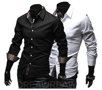 Men Silk Long Sleeve NEW Men's casual Slim long Sleeve Shirts Men's Leopard grain shirts Dress Shirts For Men Business Shirts A22