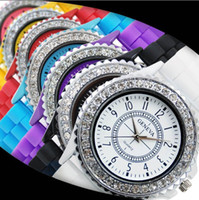 Wholesale Promotion Mix colors DHL Ladies GENEVA Watch Classic Gel Crystal Silicone Jelly watch GW011