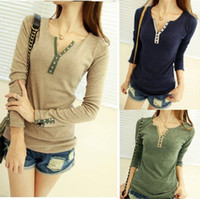 Wholesale Womens Long Sleeve Bottoming Crew Neck T Top Blouse Casual