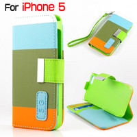 For Apple iPhone Leather 5 colors Hybrid Flip Leather Case Credit Card Wallet Stand Case Hard Plastic Cover Colorful Fashion Cases with Wrist Strap for iphone 5 5S
