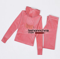 Wholesale Velour Tracksuits Hooded Sweatsuits Long Sleeve Jogging Pink Sweat Suits Hoodies Suits Sportswear Sports Set size S XXL