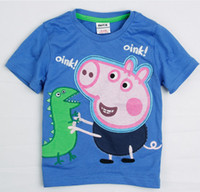 Boy Summer Standard Nova Clothing Boys Peppa Pig Tshirts Boy George Pig Dinosaur Short Sleeve T-Shirt 100% Cotton Children Cartoon Summer Shirt TEE Top D0957
