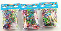 Wholesale 500packs mix Color pack Loom Bnads Rubber Wrist Band with S Clips without Retail Box Packing