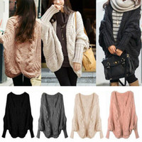 Wholesale Women Lady Knitted Cardigan Batwing Outwear Casual Loose Sweater Wool Tops