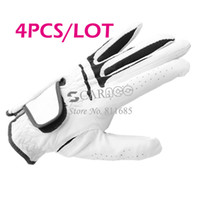 Wholesale 4PCS White Dura Feel Men s Golf Glove For The Left Hand Tour Preferred Size M L Gloves Leather Drop Shipping TK0803