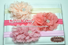 Wholesale Double Chiffon Flower Headband Matching Jeweled Nylon Elastic Baby Hairbands Newborn Photography Props QueenBaby
