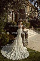Wholesale 2014 Hot Sexy Mermaid Lace Wedding Dresses Backless Cap Sleeves Sequins Beaded Flowers Chapel Train Bridal Gowns GL1406