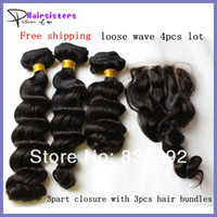 Loose Wave Brazilian Hair 12~26inch In Stock Grade AAAAA Loose wave Brazilian Virgin Hair Weave 1PC three 3 part Lace Top Closure with 3pcs hair bundles 4PCS Lot UPS Free Shipping