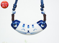 Pendant Necklaces China-Tibet Unisex Cute Ceramic Sculpture Smile Kitty Pendant Necklaces Chinese Famous Traditional Vintage Palace Style Porcelain Wholesale Jewelry Gift XL465