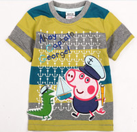 Boy Summer Standard 2013 Nova Boys Peppa Pig Stripe Tshirts Boy George Pig Dinosaur Short Sleeve T-Shirt 100% Cotton Children Cartoon Summer Shirt TEE Top D0961