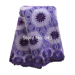 Wholesale High Quality Swiss voile lace Lilac Purple yards pack cotton African lace