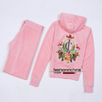 Wholesale Velour Tracksuits Womens High Quality Hooded Sweatsuits Long Sleeve Jogging Pink Sweat Suits Hoodies Suits Sportswear