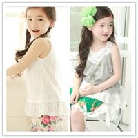 Girl Summer Long New Issue! Girl Lace Hollow Collar Sling Princess Vest,Color Gray And White,5 Pcs Lot-T11206