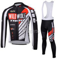 Wholesale TREK cycling jersey winter fleece long sleeve bib cycling jerseys thermal anti pilling top class lycra bicycle clothing