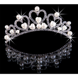 Wholesale 2013 New Style In Stock Crystals Snowflake Tiaras Glamous Hair Bridal Accessories Princess Girl Tiaras With pearl