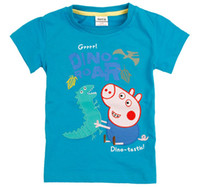 Boy Summer Standard 2013 Nova Clothing Boy Peppa Pig Tshirt Boy George Pig Dinosaur Short Sleeve T-Shirt 100% Cotton Children Cartoon Summer Shirt TEE Top D0963
