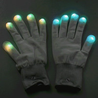 Wholesale Hot Selling Mode LED Gloves Rave Light Finger Lighting Glow Flashing Gloves Party Xmas Dancing pair edison2011