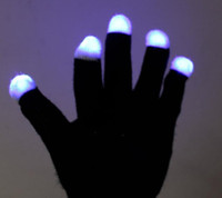 Wholesale 2014 NEW gift Modes color changing flashing Led glove for KTV Party black white for choice Finger Flashing Glow edison2011
