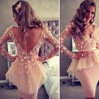 Sexy Sheer V- neck Long Sleeve Homecoming Cocktail Dresses 20...