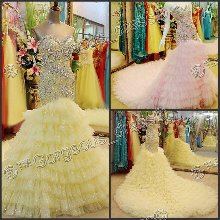 Yellow Mermaid Prom Dresses 2014 2014 Pink Yello...