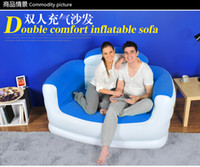 Wholesale two seats inflatable sofa double seats air sofa for living room with hand pump free express
