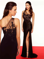 Wholesale 2014 Luxury See Through Sexy High Side Slit Evening Dresses Mermaid One Shoulder Black Appliques Chiffon Sweep Train Formal Prom Dress