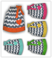 Wholesale Candy chevron Pillow dress Cotton Fabric Polks dots multicolor baby dress clothes infant dresses party girl Dresse24pcs dhl free
