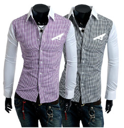 Wholesale NEW Men s casual Slim long Sleeve Shirts Men s grid style shirts Dress Shirts For Men Business Shirts A075