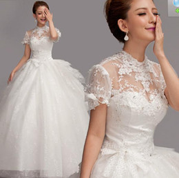 Wholesale Wedding dress Lace Hollow Sexy wedding dress White Organza dress Korea style Brides dres