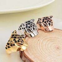 Wholesale Fashion brand Leopard head Finger Ring punk silver rose gold plating stainless steel black Enamel titanium metal rings for men women
