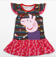 TuTu Summer A-Line Wholesale - Nova New arrival Kids Summer Wear 18m-6y Baby Girls Dresses Hot Peppa Pig Clothes Cotton Cap Sleeve Stripe Girls Dress 20pcs L
