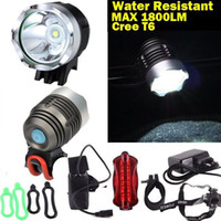 Wholesale 1800 Lumen CREE XML T6 LED Bike Bicycle Light HeadLight headLamp Tail lights